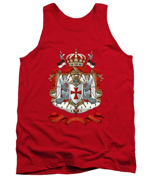 Knights Templar - Coat Of Arms Over Red Velvet Tank Top by Serge Averbukh