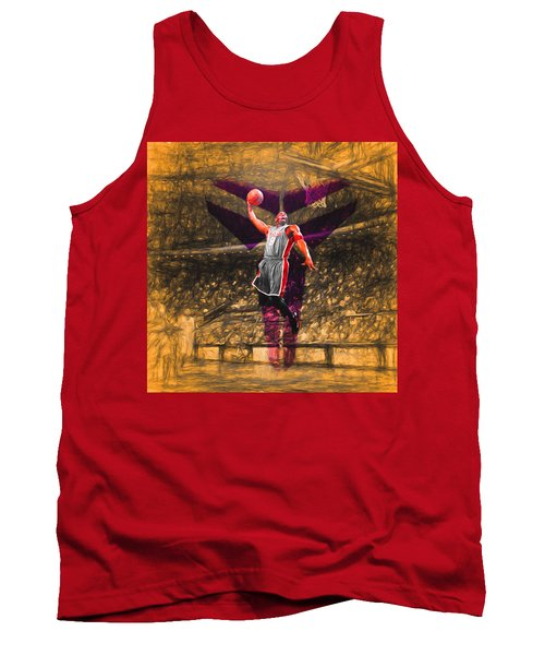 Kobe Bryant Black Mamba Digital Painting Tank Top by David Haskett