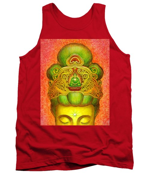 Kuan Yin's Buddha Crown Tank Top by Sue Halstenberg