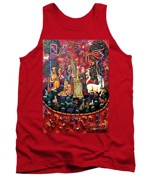 Tank Top featuring the painting Lady And The Unicorn Sound by Genevieve Esson