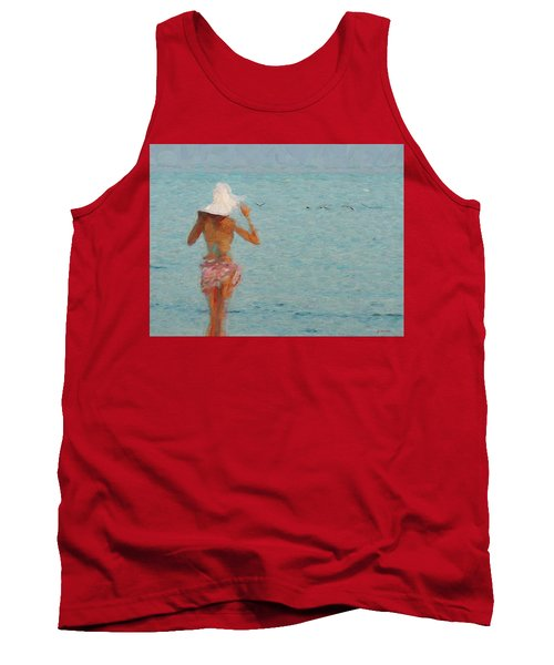 Lady At The Beach Tank Top