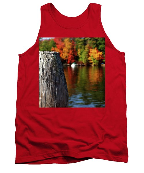 Lake Winnepesaukee Dock With Foliage In The Distance Tank Top