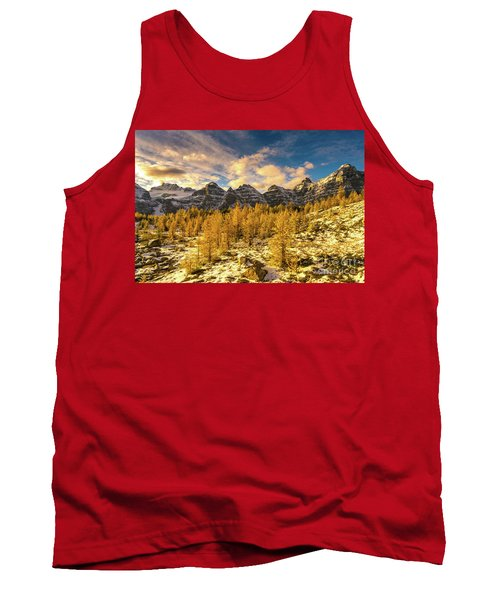 Larch Valley Golden Larches Touch Of Winter Tank Top
