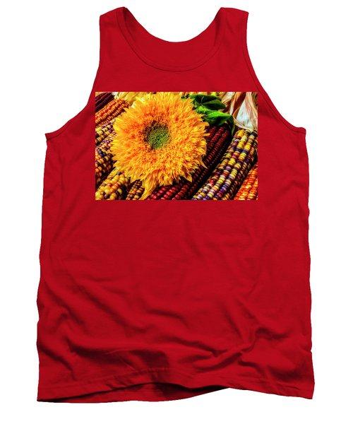 Large Sunflower On Indian Corn Tank Top