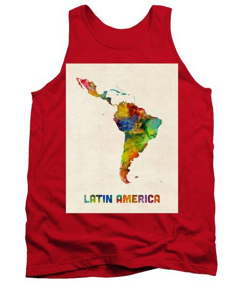 Tank Top featuring the digital art Latin America Watercolor Map by Michael Tompsett