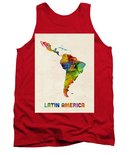Latin America Watercolor Map Tank Top