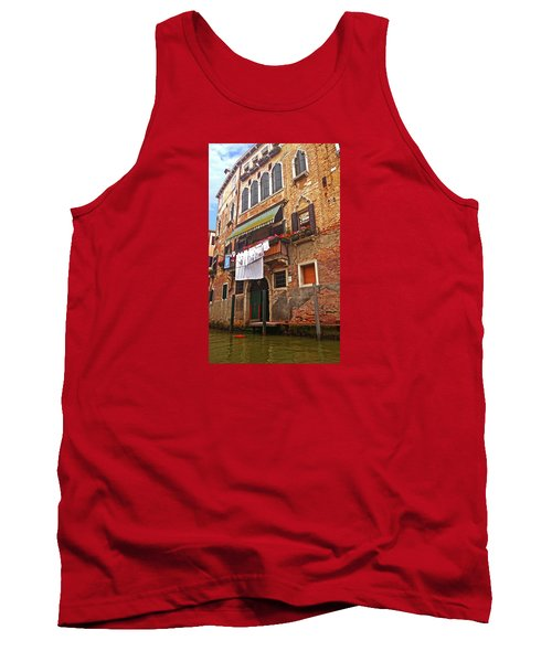 Tank Top featuring the photograph Laundry Drying In Venice by Anne Kotan