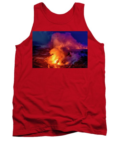 Tank Top featuring the photograph Lava And Ocean At Dawn by Allen Biedrzycki
