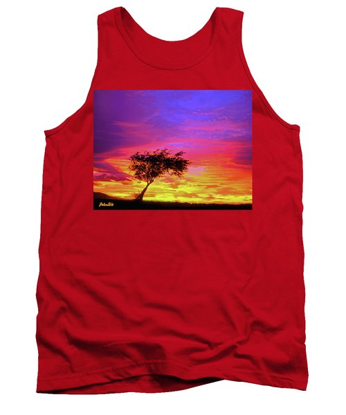 Leaning Tree At Sunset Tank Top