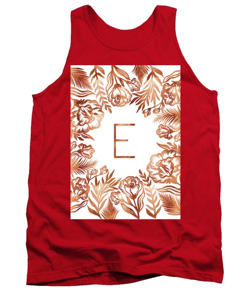 Letter E - Rose Gold Glitter Flowers Tank Top