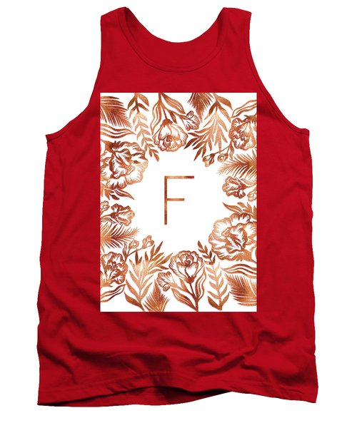 Letter F - Rose Gold Glitter Flowers Tank Top