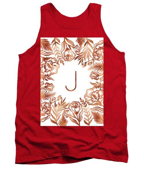 Letter J - Rose Gold Glitter Flowers Tank Top