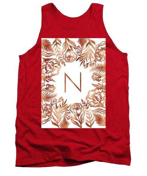 Letter N - Rose Gold Glitter Flowers Tank Top