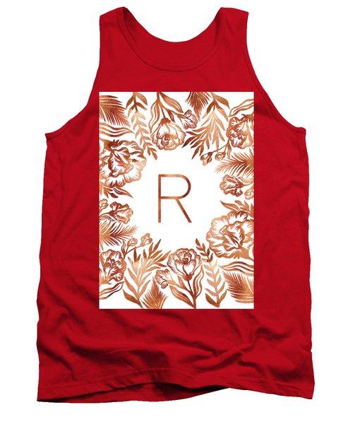 Letter R - Rose Gold Glitter Flowers Tank Top