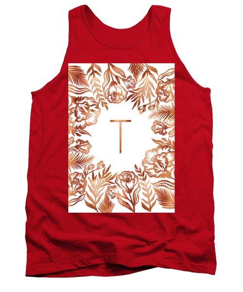 Letter T - Rose Gold Glitter Flowers Tank Top
