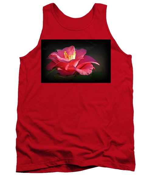 Tank Top featuring the photograph Lighted Camellia by AJ Schibig