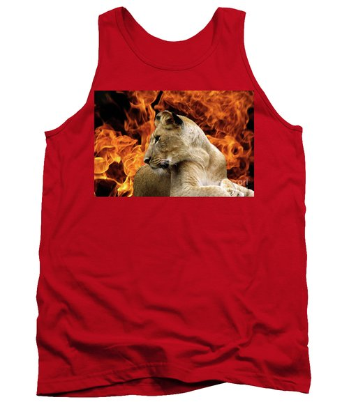 Lion And Fire Tank Top by Inspirational Photo Creations Audrey Woods