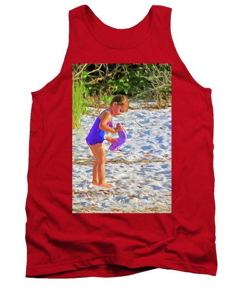 Little Beach Girl With Flip Flops Tank Top