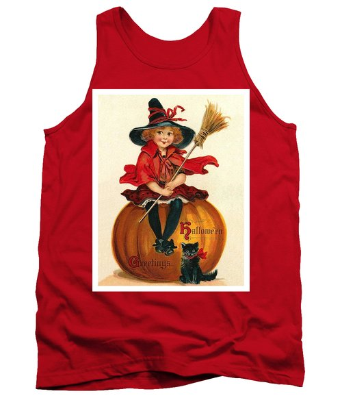 Little Girl Witch Sitting On A Big Pumpkin Tank Top