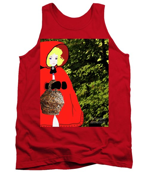Tank Top featuring the painting Little Red Riding Hood In The Forest by Marian Cates