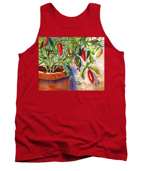 Tank Top featuring the painting Lizard In Hot Sauce by Marilyn Smith