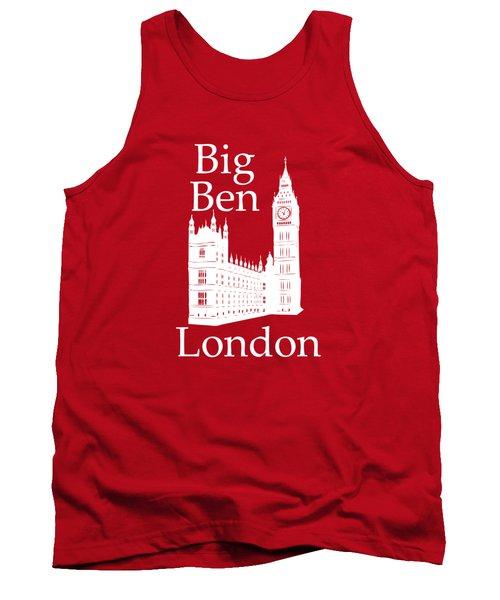 London's Big Ben In White - Vertical Tank Top