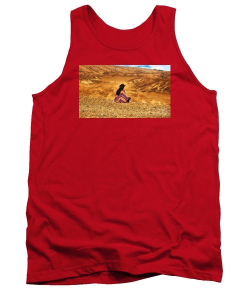Long Haired Man In Poncho Tank Top