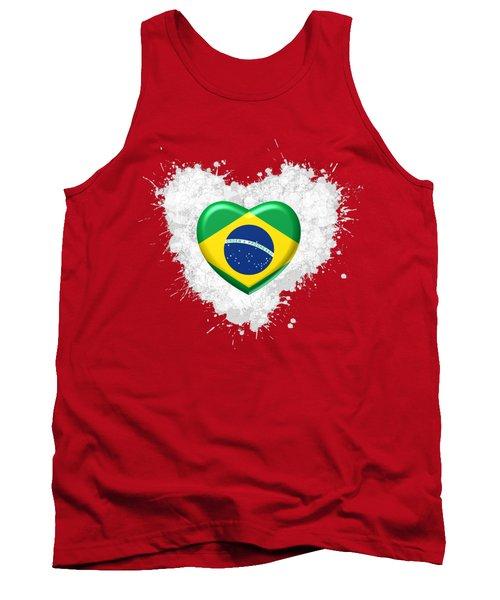 Tank Top featuring the digital art Love Brazil Heart by Alberto RuiZ