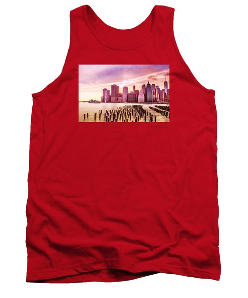 Lower Manhattan And Ferry Tank Top by Rima Biswas
