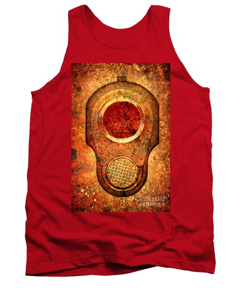 M1911 Muzzle On Rusted Background - With Red Filter Tank Top by M L C