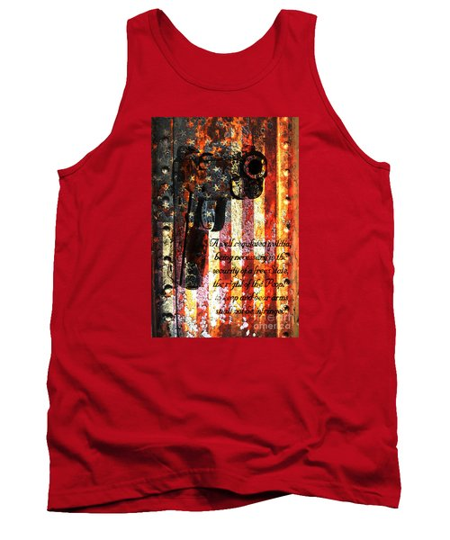 M1911 Pistol And Second Amendment On Rusted American Flag Tank Top by M L C