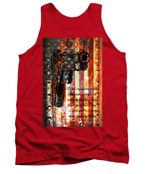 M1911 Pistol And Second Amendment On Rusted American Flag Tank Top