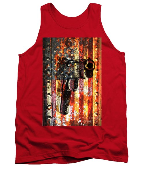 M1911 Silhouette On Rusted American Flag Tank Top by M L C