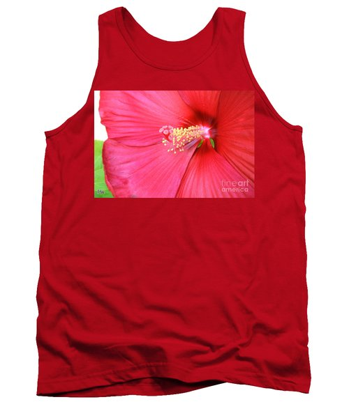Macro Red Hibiscus Tank Top by Marsha Heiken