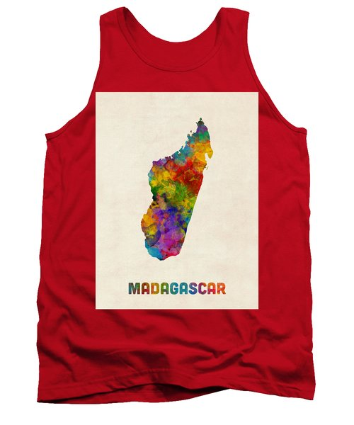 Tank Top featuring the digital art Madagascar Watercolor Map by Michael Tompsett