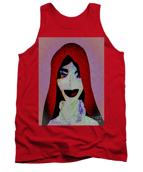 Tank Top featuring the mixed media Madonna Mary by Ann Calvo