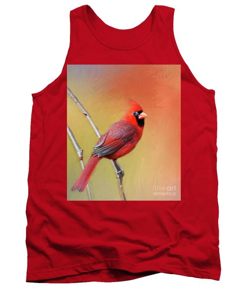 Male Cardinal Perched Tank Top by Myrna Bradshaw