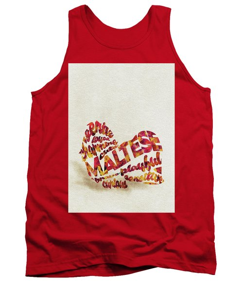 Tank Top featuring the painting Maltese Dog Watercolor Painting / Typographic Art by Ayse and Deniz