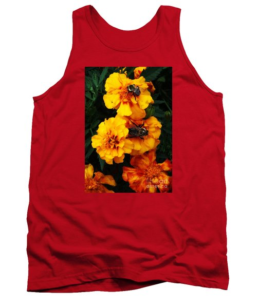 Tank Top featuring the photograph Marigold Cluster by J L Zarek