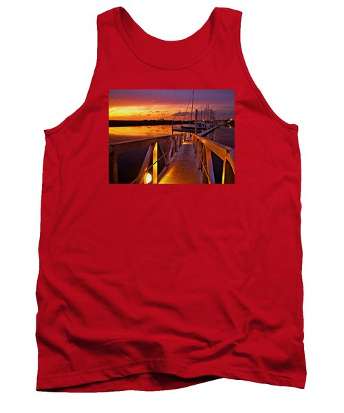 Tank Top featuring the photograph Marina Sunset by Laura Ragland