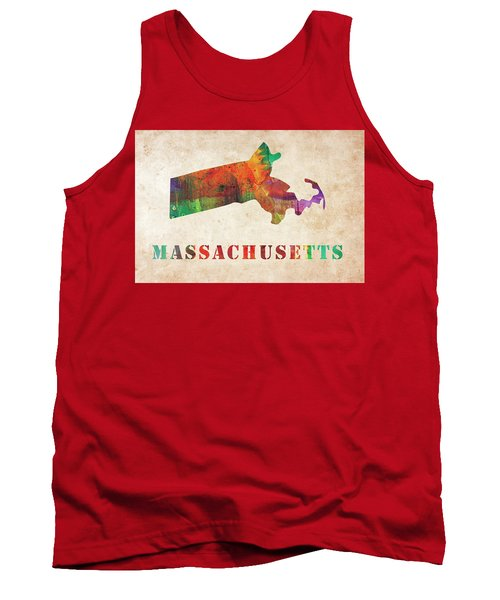 Massachusetts Colorful Watercolor Map Tank Top