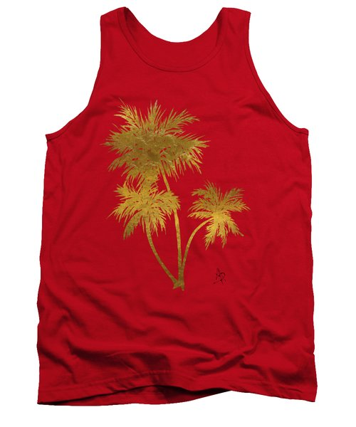 Metallic Gold Palm Trees Tropical Trendy Art Tank Top