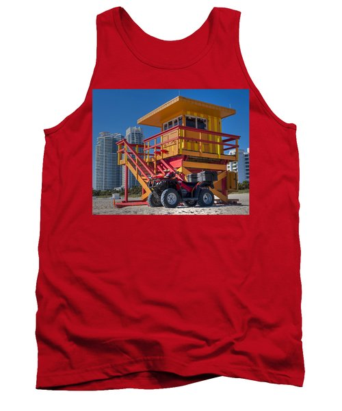 Miami Beach Lifeguard House Ocean Rescue Tank Top by Toby McGuire