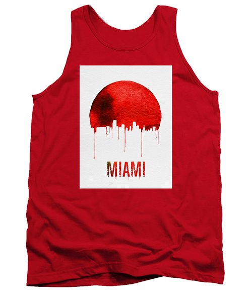 Miami Skyline Red Tank Top by Naxart Studio