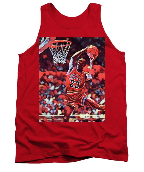 Tank Top featuring the painting Michael Jordan Slam Dunk by Dan Sproul