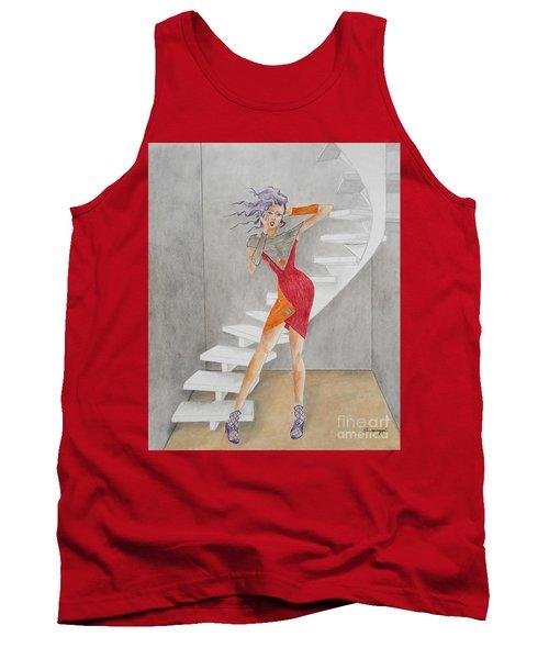 Minimalist Madness -- Whimsical Fashion Drawing Tank Top