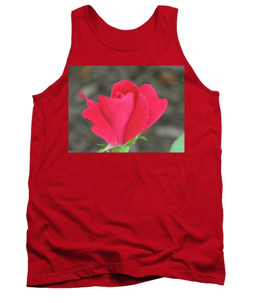 Misty Red Rose Tank Top by Michele Wilson