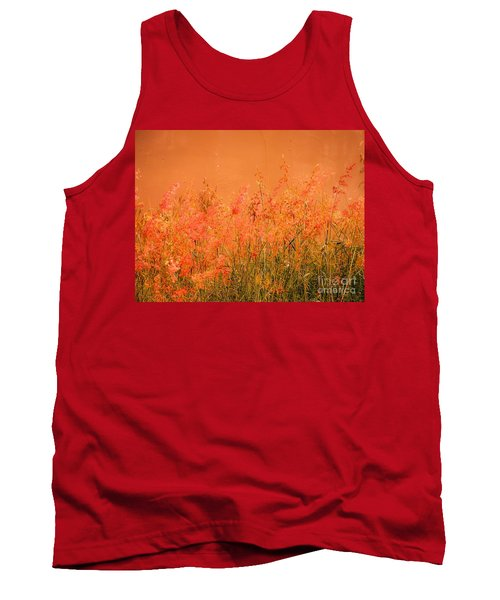 Misty Yellow Hue- Pink Blooms Tank Top