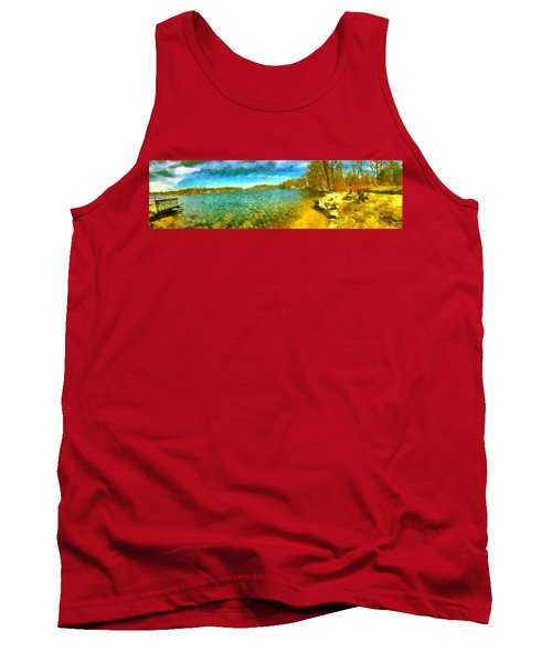Tank Top featuring the painting Mohegan Lake Panoramic Beach by Derek Gedney