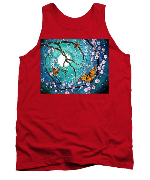 Monarch Butterflies In Teal Moonlight Tank Top by Laura Iverson